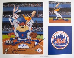 Looney Tunes Autographed Art Mets Baseball