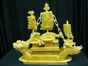 "24"" Yellow Jade Dragon Boat"
