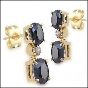 3.67 Ct Sapphire & Diamond Designer Earrings $925