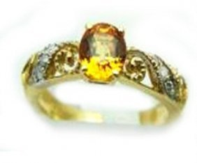 1.00 Ct Yellow Sapphire Diamond Ring Appraised $3,200