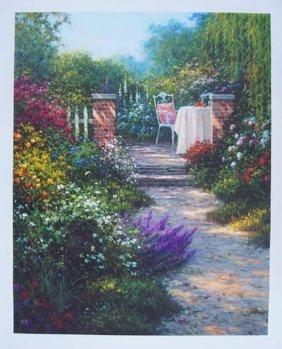 Sergon Garden Serenity Signed Ltd Ed. Giclee On Canvas