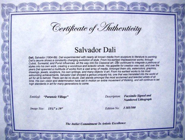 Salvador Dali Lithograph Paranoic Village - 2