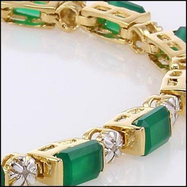 9.79 CT Green Agate & Diamond Designer Bracelet $1405 - 2