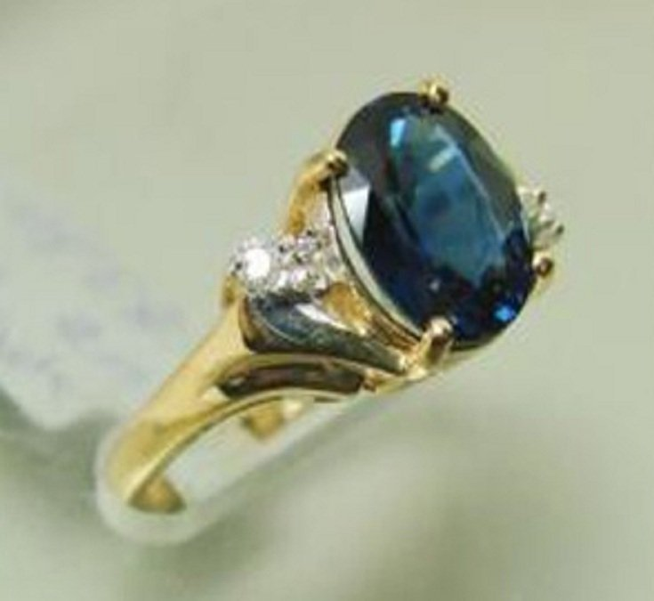 2.15 CT Natural Sapphire Diamond Ring Appraised $3,800 - 2