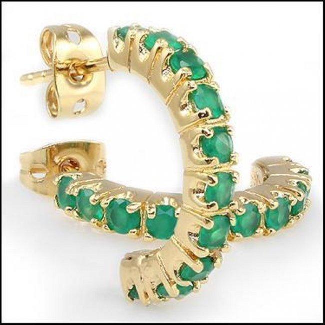 3.32 CT Green Agate Hoops Designer Earrings $860