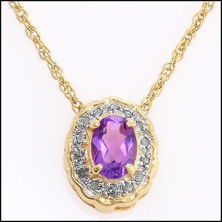 2.45 CT Amethyst & Diamond Designer Necklace $680 - 2