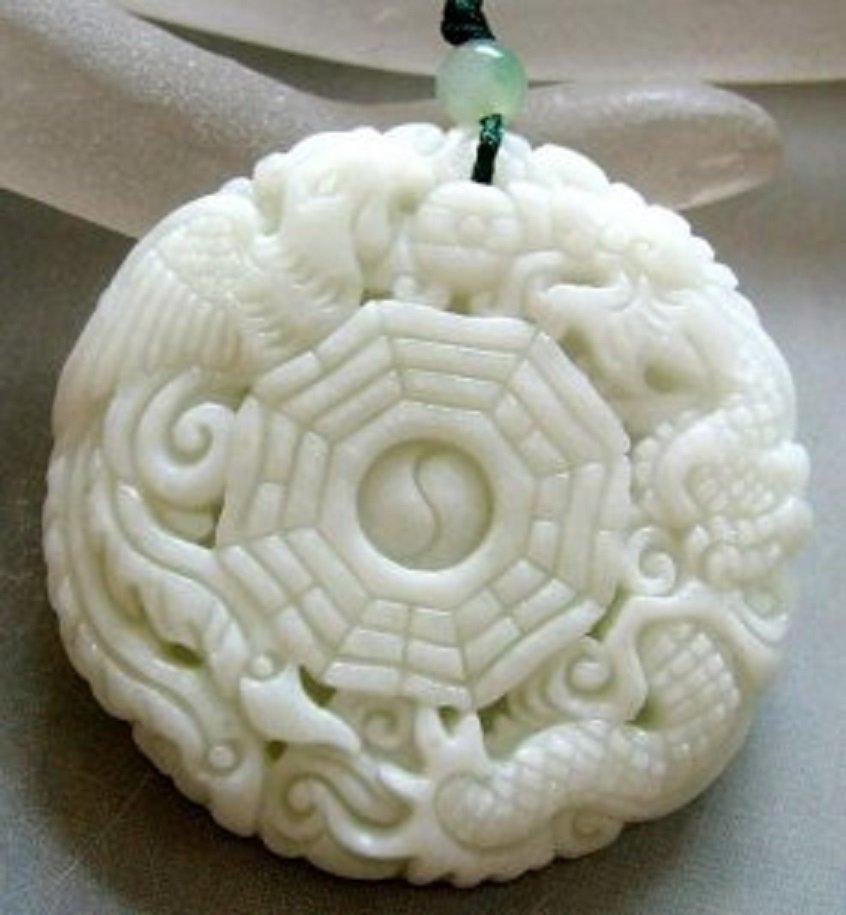 Chinese Jade Dragon Phoenix 8-Diagram Amulet Pendant