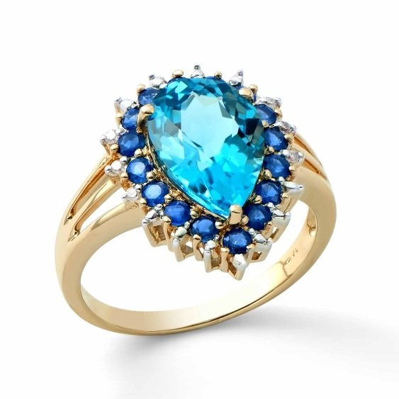 4.95 Ct Certified Topaz, Sapphire & Diamond Ring $4,325
