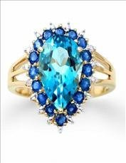 4.95 Ct Certified Topaz, Sapphire & Diamond Ring $4,325 - 2