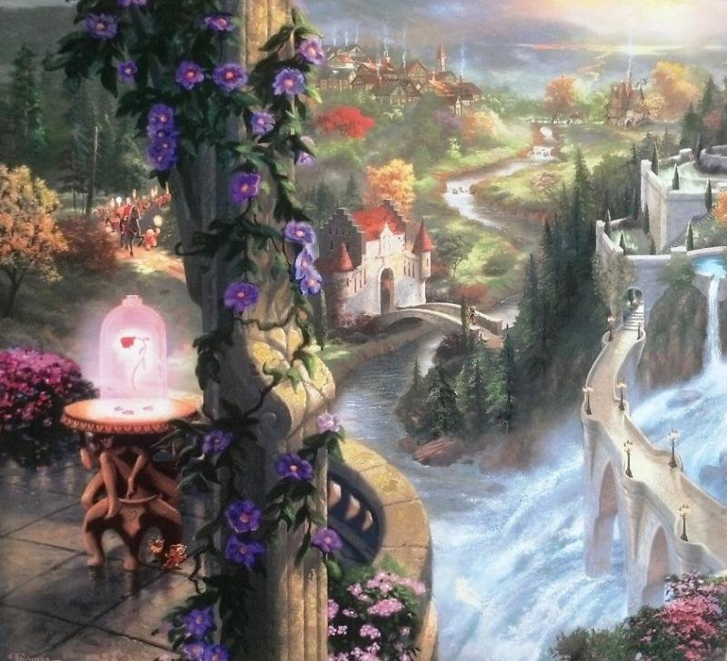 Kinkade Lithograph Disney - Beauty & the Beast