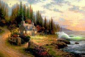 Kinkade Fine Art Lithograph Pine Cove Cottage