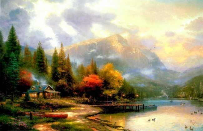 Kinkade Fine Art Lithograph The End of a Perfect Day