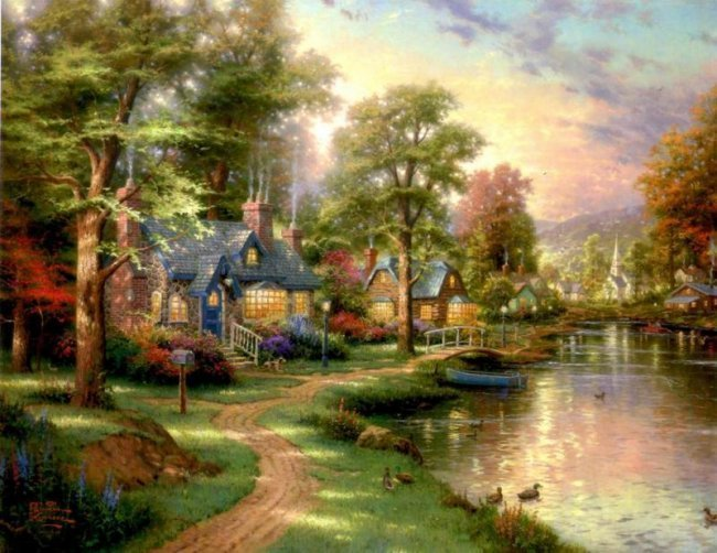 Kinkade Fine Art Lithograph Hometown Lake