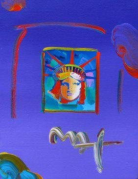 Max LIBERTY HEAD II Hand Signed Original Mixed Media