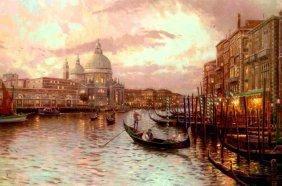 Kinkade Fine Art Lithograph Venice Sunset on the Grand