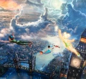 Kinkade Lithograph Disney - Peter Pan Tinker Bell