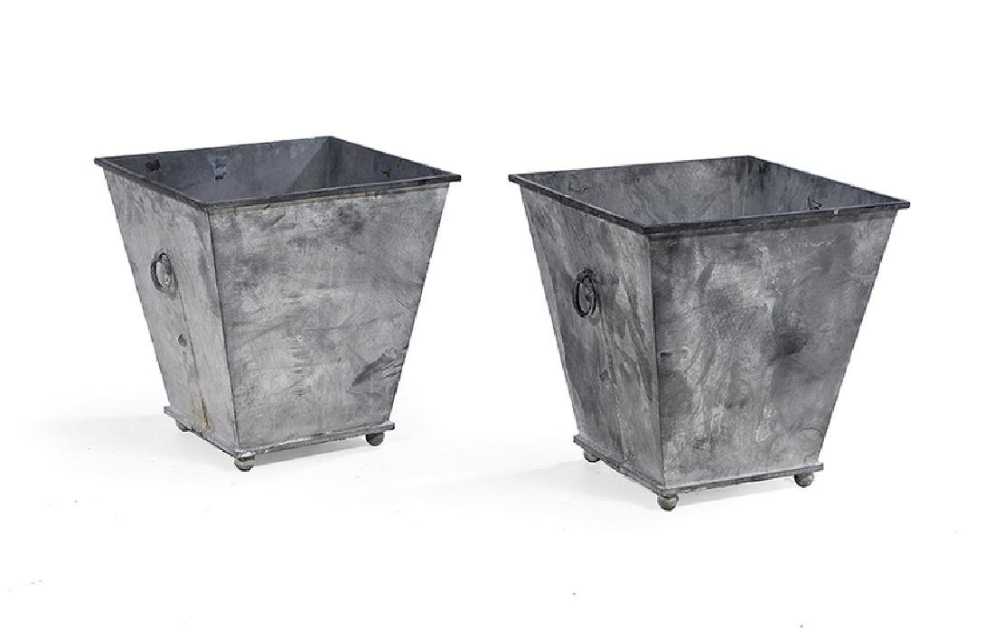 Pair of Asian-Inspired Gray Metal Planters
