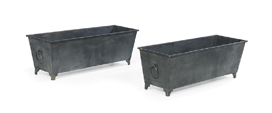 Pair of Asian-Inspired Black Metal Planters