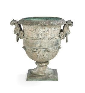 Classical-Style Bronze Campana-Form Garden Urn