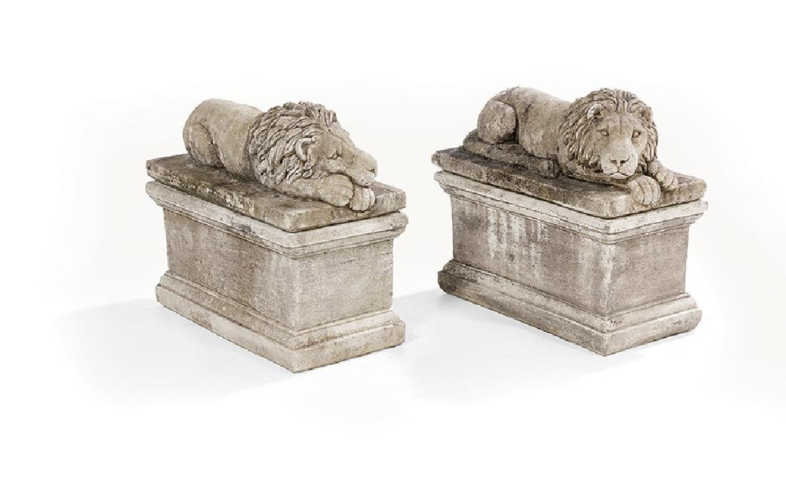 Pair of Cast Stone Recumbent Lions on Bases