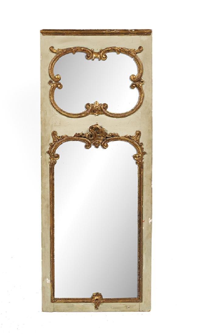 Louis XV-Style Parcel-Gilt Trumeau Mirror