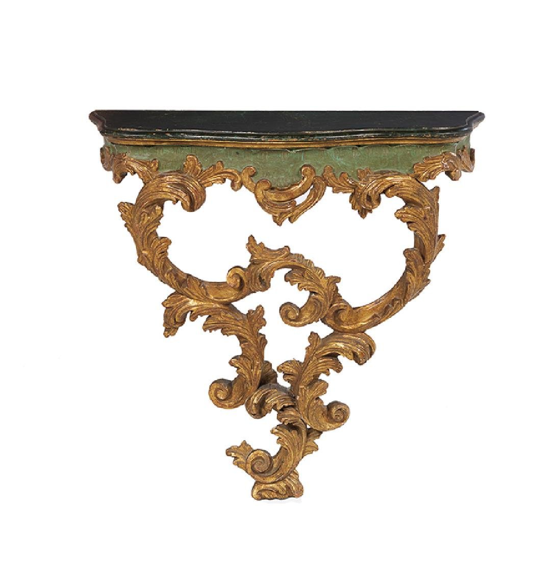 Italian Giltwood and Polychrome Console Table