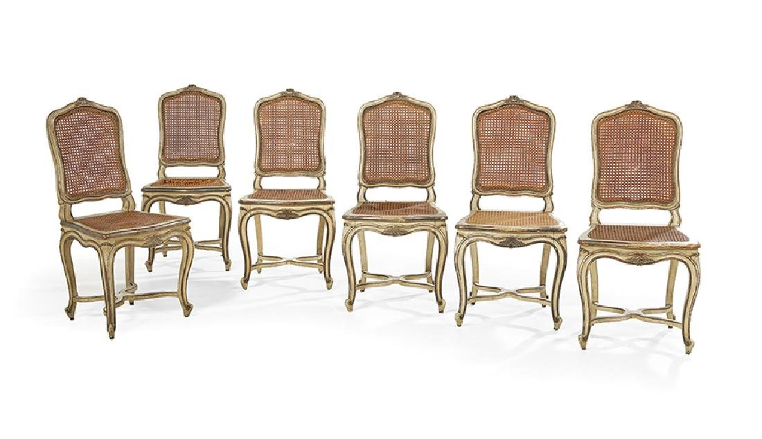 Suite of Six Louis XV-Style Polychrome Sidechairs