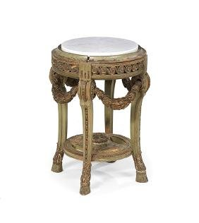 Louis XIV-Style Marble-Top Tabouret