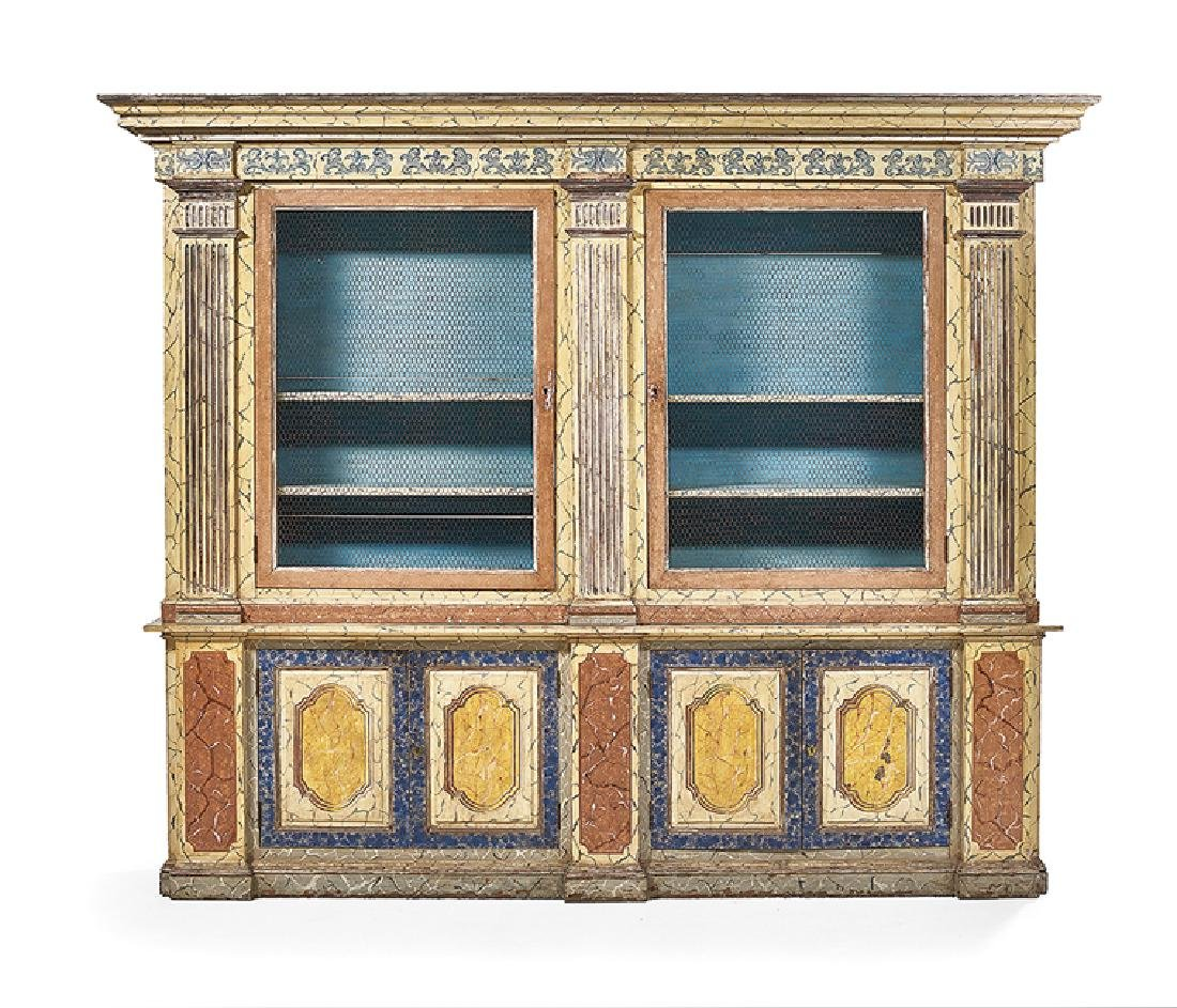 Continental Polychrome and Faux-Marbre Bookcase