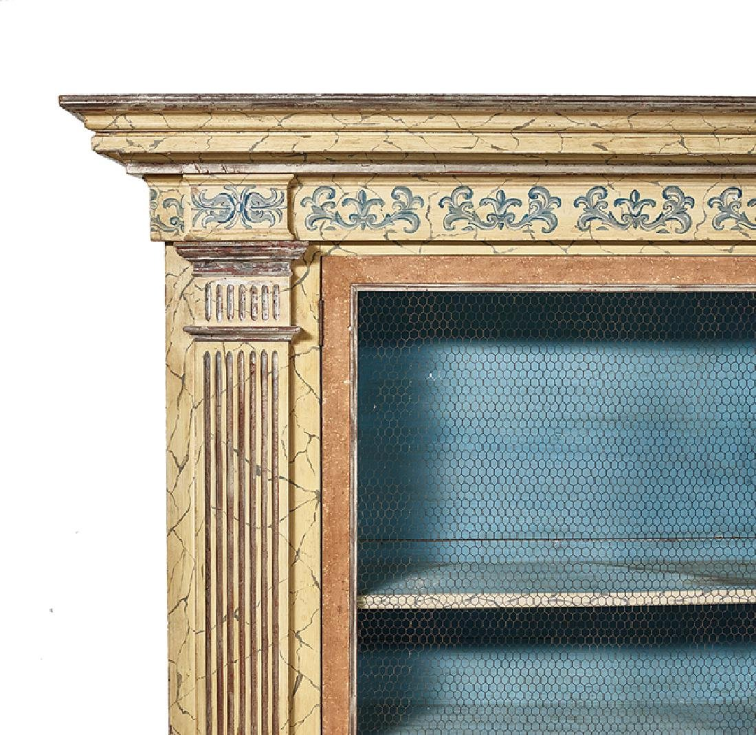 Continental Polychrome and Faux-Marbre Bookcase - 2