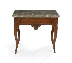 Continental Provincial Marble-Top Side Table