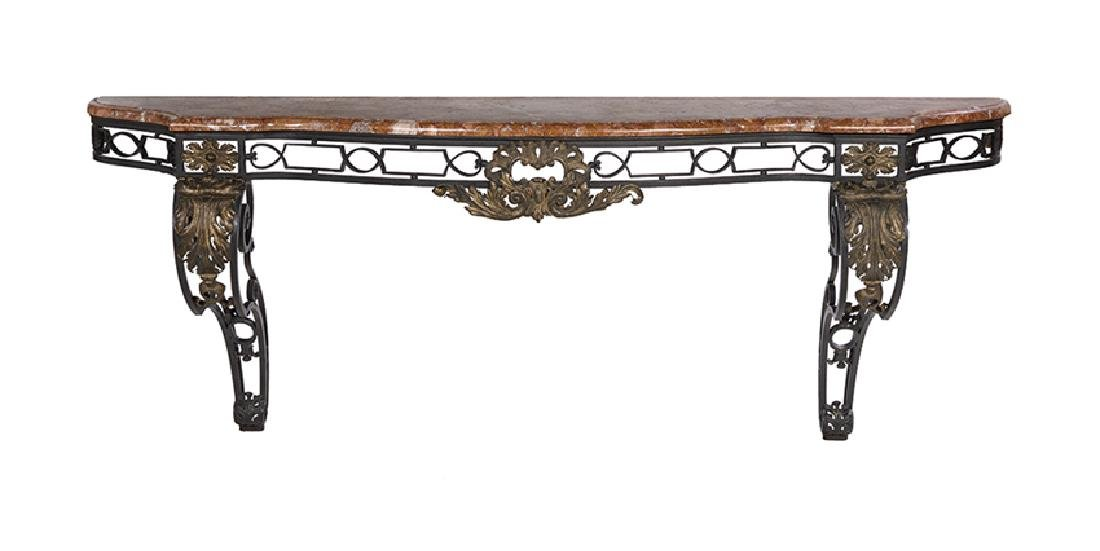 Neoclassical Iron and Marble-Top Console Table