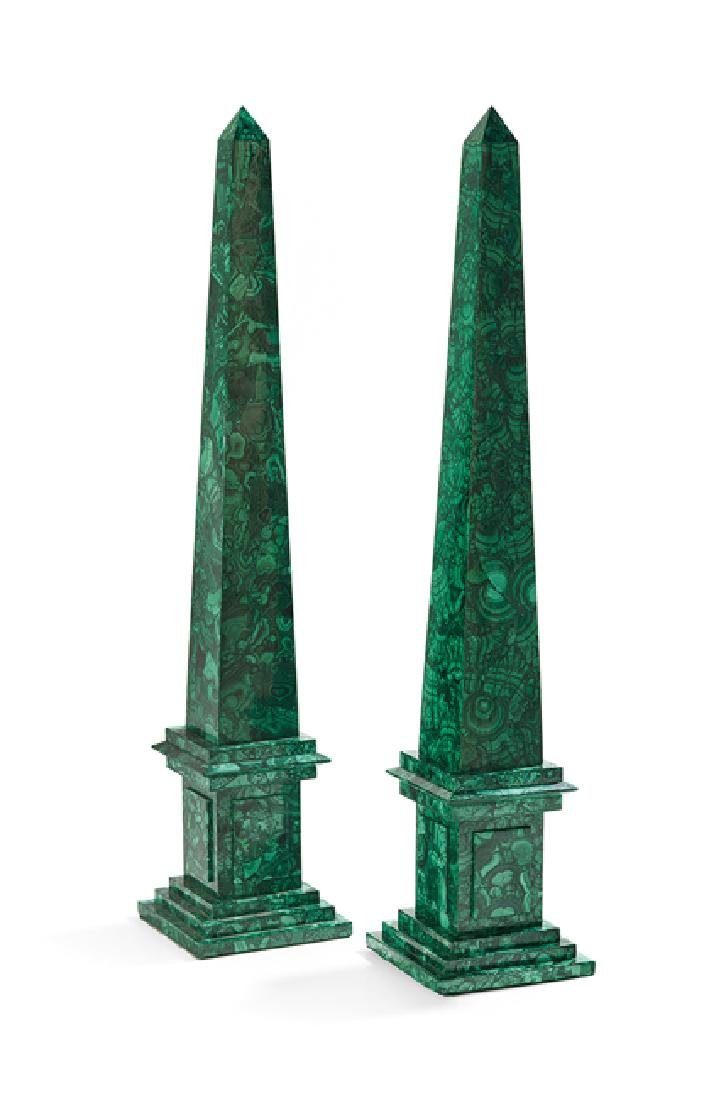 Pair of Neoclassical-Style Malachite Obelisks