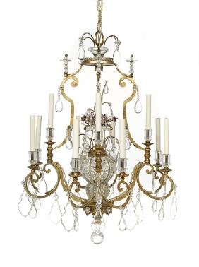 Pair of Continental Crystal Chandeliers