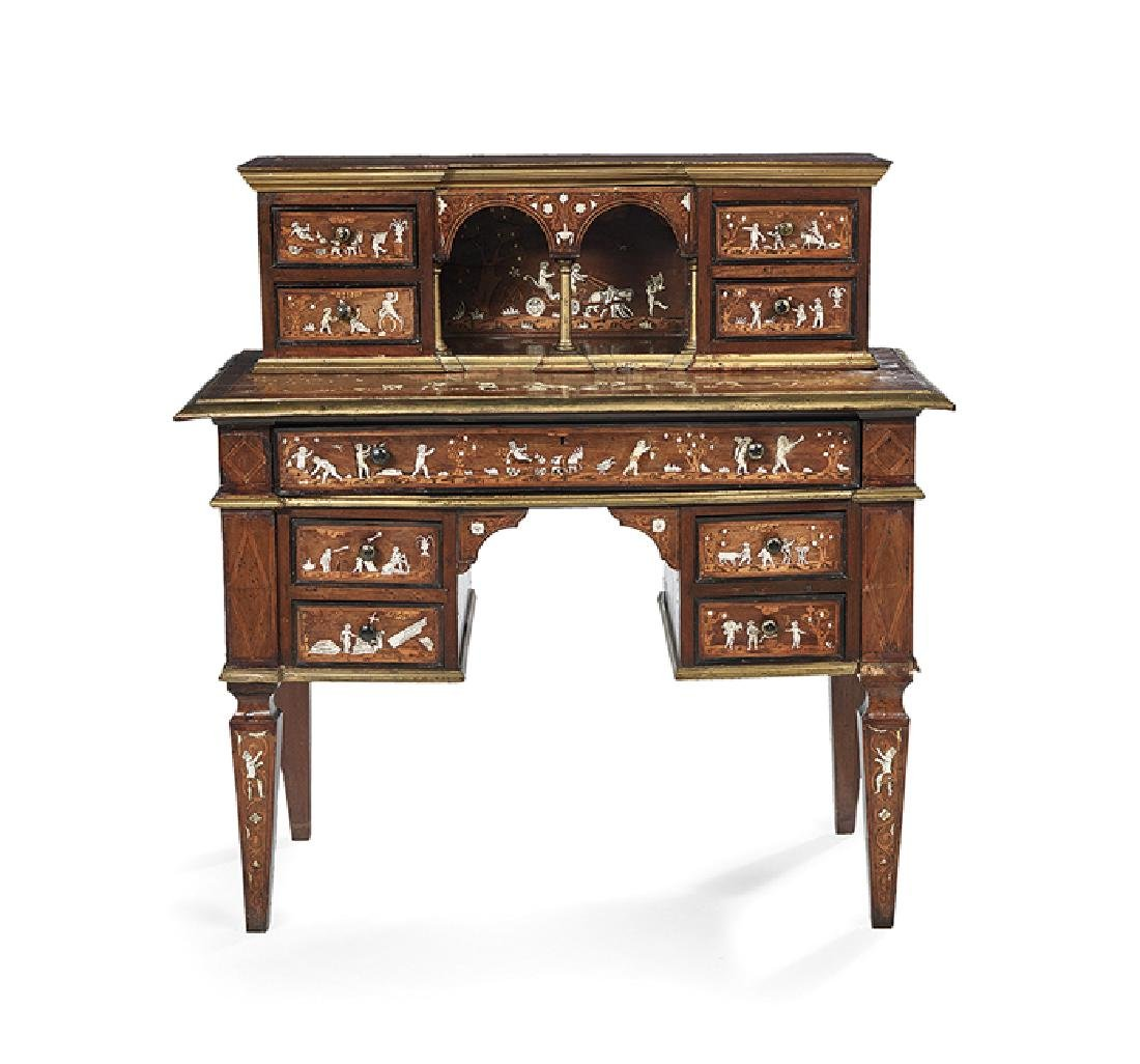 Italian Mahogany and Mixed Woods Desk