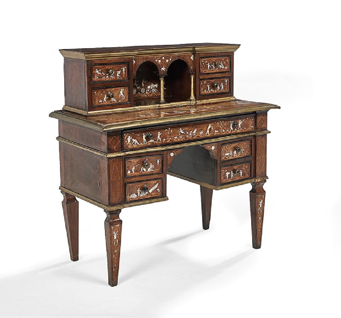 Italian Mahogany and Mixed Woods Desk - 2