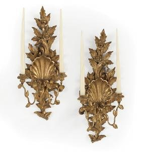 Pair of Italian Giltwood and Gilt-Metal Sconces