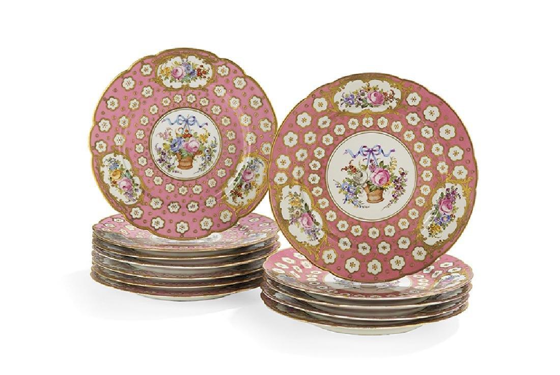 Twelve French Rose Pompadour Porcelain Plates