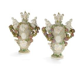 Pair of Unusual Continental Lidded Vases
