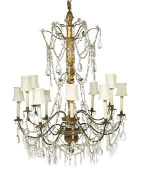 Louis XVI-Style Giltwood and Crystal Chandelier