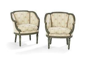 Pair of Louis XVI-Style Polychrome Bergeres