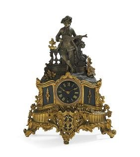 Louis-Philippe Bronze and Marble Mantel Clock