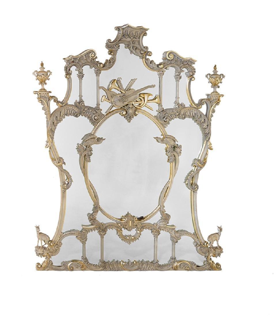 Rococo-Style Parcel-Gilt Overmantel Mirror