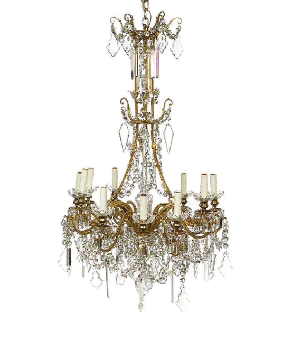 French Gilt-Bronze and Crystal Chandelier