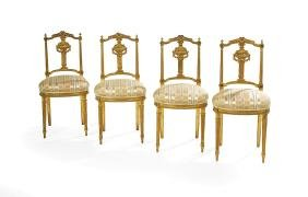 Four Louis XVI-Style Giltwood Ballroom Chairs