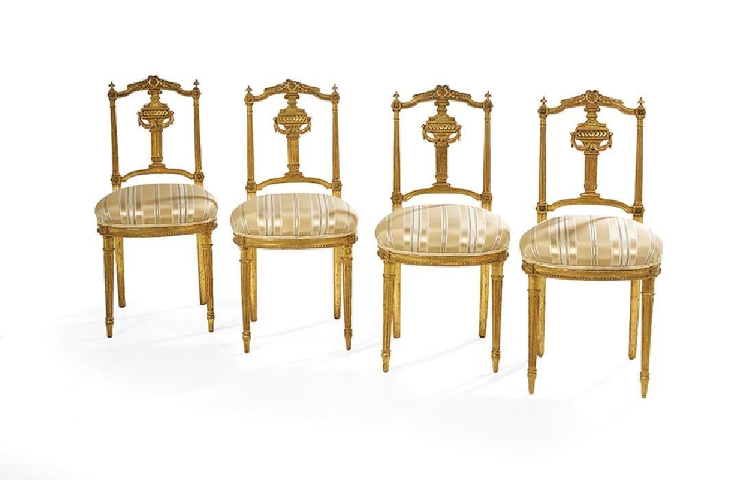 Four Louis XVI-Style Giltwood Ballroom Chairs