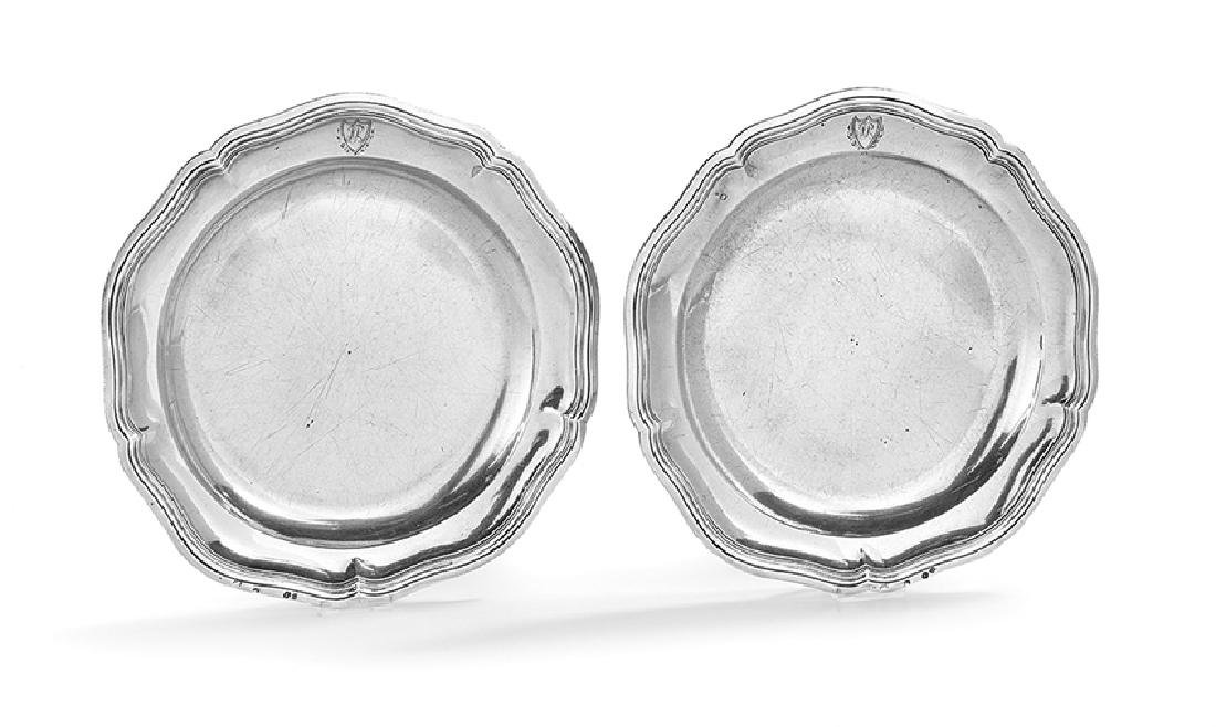 Pair of French Consular Silver Service Plates