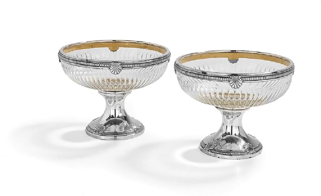 Pair of French .950 Silver-Mounted Glass Compotes