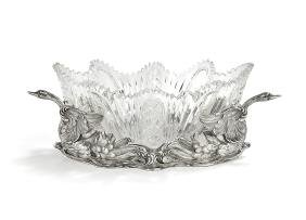 German .800 Silver and Cut Glass Center Bowl