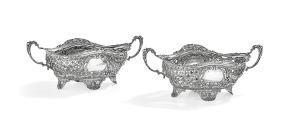 Pair of German .800 Silver Fruit Bowls